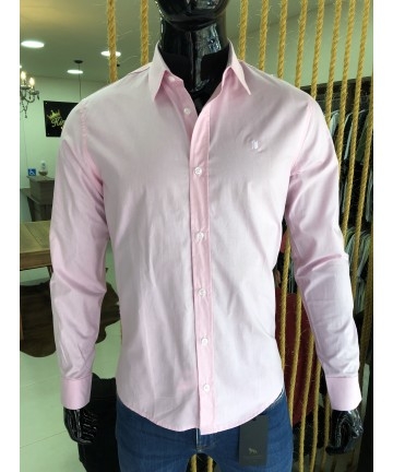Camisa Slim ML Tricoline Basic (ROSA) - M.POLLO
